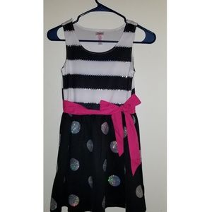 Justice Girls Striped and Polka Dotted Dress